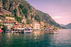 Limone sul Garda is a town in Lombardy on the shore of Lake Gard Royalty Free Stock Photos