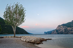 Lake Garda (Italy) and moon Royalty Free Stock Image