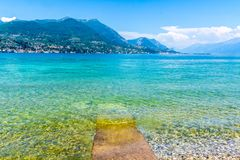Stunning Lake Garda on beautiful sunny day. Lake Garda, Italy. stunning view over the lake towards the mountains on the far shore royalty free stock photos