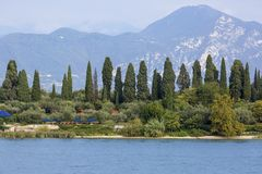 Lake Garda, the largest lake in Italy, situated on the edge of the Dolomites, Italy.  stock photo