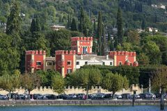 Lake Garda, the largest lake in Italy, situated on the edge of the Dolomites, Italy. GARDA, ITALY - SEPTEMBER 30, 2018: Lake Garda, the largest lake in Italy stock image
