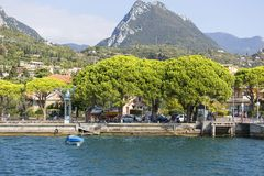 Lake Garda, the largest lake in Italy, situated on the edge of tthe Dolomites, Italy. GARDA, ITALY - SEPTEMBER 30, 2018: Lake Garda, the largest lake in Italy stock images