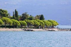 Lake Garda, the largest lake in Italy, situated on the edge of tthe Dolomites, Italy. GARDA, ITALY - SEPTEMBER 30, 2018: Lake Garda, the largest lake in Italy royalty free stock photos