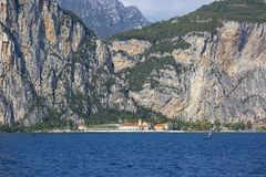 Lake Garda, the largest lake in Italy, situated on the edge of the Dolomites, Italy. GARDA, ITALY - SEPTEMBER 30, 2018: Lake Garda, the largest lake in Italy stock photo