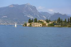 Lake Garda, the largest lake in Italy, situated on the edge of the Dolomites, Italy.  stock photography