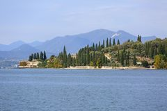 Lake Garda, the largest lake in Italy, situated on the edge of the Dolomites, Italy.  royalty free stock images
