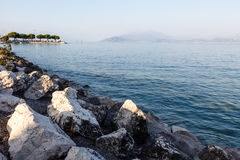 Lake Garda near Town of Sirmione in the Evening Stock Photo