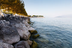 Lake Garda near Town of Sirmione in the Evening Stock Photography