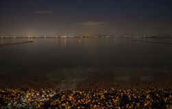 Lake Garda at night. View from Lazise stock images