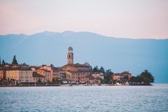 Lake Garda overlooking the town of Salo. Italy Royalty Free Stock Photo