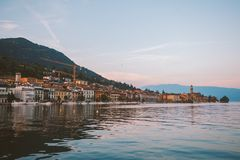 Lake Garda overlooking the town of Salo. Italy Stock Photos