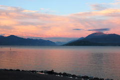 Lake Garda Panoramic Sunset View Royalty Free Stock Image