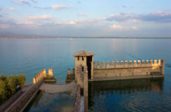 Lake Garda Panoramic Sunset View Stock Image