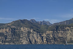 Lake Garda - popular holiday destination. View from Malcesine on the plateau of Tremosine and Tignale with its many small villages royalty free stock photography