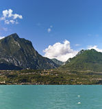 Lake Garda - Toscolano-maderno and his mountains Royalty Free Stock Images