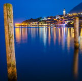 Lake Garda, Town of Limone sul Garda (Lombardy, Italy) at blue hour Royalty Free Stock Photography
