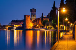 Lake Garda, Town of Sirmione (Lombardy, Italy) at blue hour Royalty Free Stock Photography