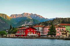 Lake Garda, Town of Torbole (Trentino, Italy). At early morning royalty free stock photo