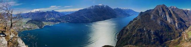 Lake garda from via ferrata fausto susatti, italy royalty free stock image