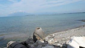 Lake garda 2. View of lake garda beach from Italy Royalty Free Stock Photo