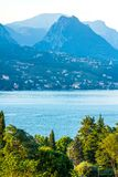 Lake Garda view from Maraschina toward the mountains royalty free stock images