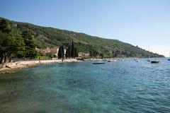 The Lake Garda in the village of Torri del Benaco in Italy Royalty Free Stock Photography