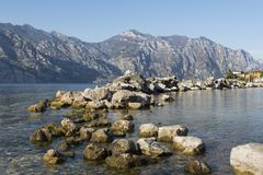 Lake Gardasee in Northern Italy, Europe. Lake Gardasee in Italy with view onto the surrounding mountains Stock Images