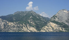 The lake Gardasee at Torbole in Italy. View of the lake Gardasee at Torbole in Italy Royalty Free Stock Photo