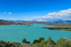 Lake General Carrera, Chile. Lake General Carrera shore beautiful landscape, Chile, Carretera Austral royalty free stock photo