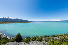 Lake General Carrera. Panoramic view of lake General Carrera in Chile royalty free stock image