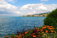 Lake Geneva. A view of Lake Geneva in Montreux, Switzerland Stock Photo