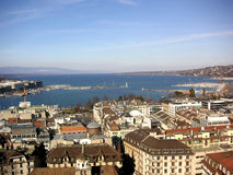 Lake Geneva. Panoramic view of Lake Geneva, with the lighthouse and the Alps in the background Stock Photo