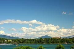 Lake Geneva. View of Lake Geneva the Alps in the background Stock Images