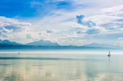 Lake Geneva with beautiful clouds Royalty Free Stock Photo