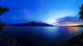 Lake Geneva at Dusk Stock Photography