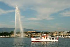 Lake Geneva and fountain. In switzerland stock images