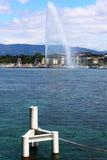 Lake Geneva fountain. In the morning royalty free stock photos