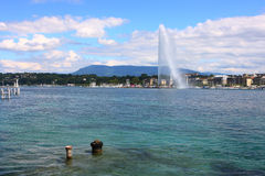 Lake Geneva fountain Stock Images