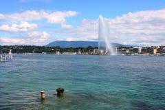 Lake Geneva fountain stock images