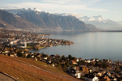 Lake Geneva (Lac Leman) with Montreux in the background Royalty Free Stock Photo