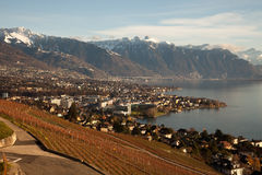Lake Geneva (Lac Leman) with Montreux in the background Stock Photography
