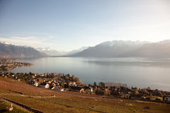 Lake Geneva Lac Leman with Montreux in the background Stock Photography