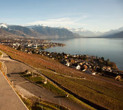 Lake Geneva Lac Leman with Montreux in the background Royalty Free Stock Images
