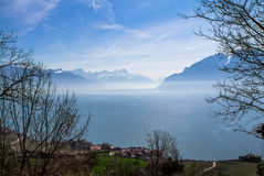 Lake Geneva. Lavaux region over lake Leman (lake of Geneva Royalty Free Stock Image