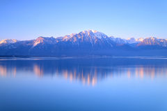 Lake Geneva of Montreux at sunrise. Switzerland Landscape : Lake Geneva of Montreux at sunrise Stock Images