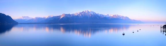 Lake Geneva of Montreux at sunrise. Switzerland Landscape : Lake Geneva of Montreux at sunrise stock image