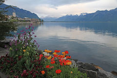 Lake Geneva in Montreux, Switzerland. Stock Images
