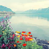Lake Geneva in Montreux, Switzerland. Stock Photo