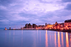 Lake Geneva at Night Stock Photo