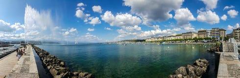 Lake Geneva in a Pano Royalty Free Stock Photo